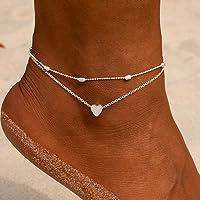 Ushiny - Cavigliera in stile boho, a strati, a forma di cuore, per donne e ragazze (argento)