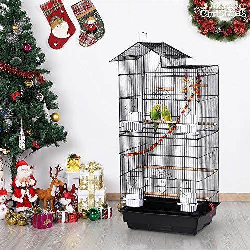 Yaheetech Cage à Oiseaux pour canari avec Jouets Noir 46 x 35,5 x 99 cm Volière pour Perruche Pinson Calopsitte avec Poignée Portable