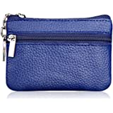 Hibate Mini Coin Purse Holder Wallet Leather Purses for Women Men Kids Zipper Pouch with Key Ring - Blue