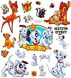 Unbekannt 20 Stk. 3-D Sticker XL Bambi Dalmatiner Löwe - Aufkleber für Textilien Stoff