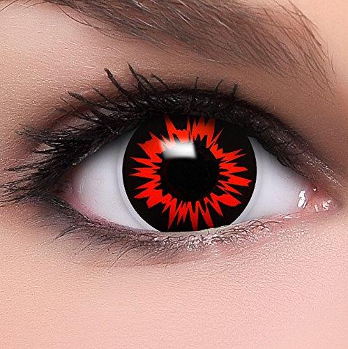 n 'Headshot' in schwarz & rot, weich ohne Stärke, 2er Pack inkl. Behälter und 10ml Kombilösung - Top-Markenqualität, angenehm zu tragen und perfekt zu Halloween oder Karneval (Einfache Halloween-clown Make-up)