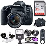 Canon EOS 77D DSLR mit 18–55 mm Objektiv & br-e1 Fernbedienung + Flash & 32 GB Bundle