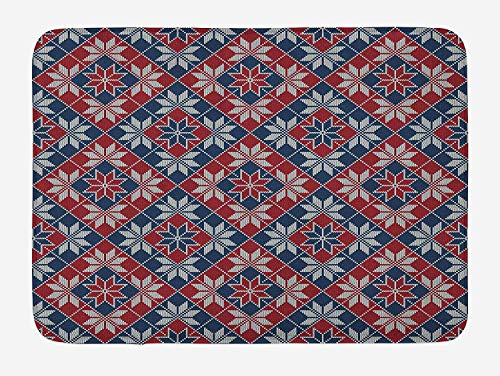 Nordic Wool (tgyew Nordic Bath Mat, Wool Knit Pattern with Tartan Geometric Stripes Flower Figures Print, Plush Bathroom Decor Mat with Non Slip Backing, 23.6 W X 15.7 W Inches, Ruby Dark Blue Coconut)