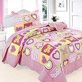 beddingleer niños niñas rosa Puzzle algodón único de 150x 200cm colcha Patchwork mantas, luz peso cuatro estaciones