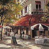 Fertig-Bild - Brent Heighton: Cafe Berlotti 70 x 70 cm Strassencafe Paris Kellner Strassenszene urban Boulevard Sommer