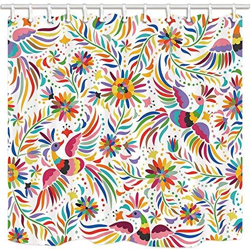 CDHBH Mexikanischen Floral Bad Vorhang Ethnic Art Birds und Polyester-Blumen in Weiß-Wasserdicht Duschvorhang für Badezimmer 180,3x 180,3cm Vorhänge Dusche Haken im Lieferumfang Enthalten (Dusche Vorhang Haken Weiß)