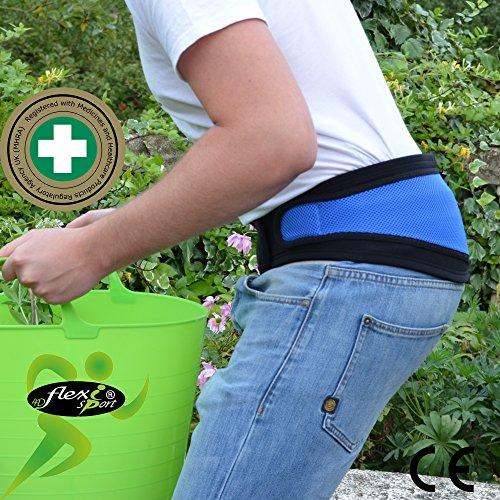 Faja Lumbar (L/AZUL) - Cinturón de Protección Lumbar ANTI-SUDOR, HIPOALERGÉNICA (SIN NEOPRENO – SIN LATEX), respeta las píelas más delicadas. 4DflexiSPORT