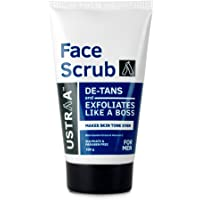 Ustraa Face Scrub -100g - De-Tan Face scrub for men, Exfoliation and tan removal with Bigger Walnut Granules, No…