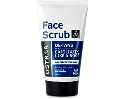 Ustraa Face Scrub -100g - De-Tan Face scrub for men, Exfoliation and tan removal with Bigger Walnut Granules, No Sulphate, No