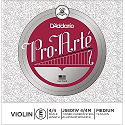 D'Addario J5601W 4/4M - Cuerda para violín de aluminio en Mi, 4/4 (tensión media)