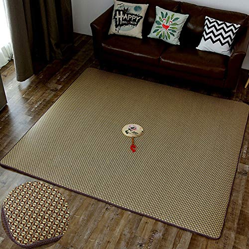 SXFYWYM Teppich Stroh Matte Sommer für Wohnzimmer Schlafzimmer einfache Tatami Multifunktions Baby Crawling Matte (nur Teppich),D,180X280CM (Stroh-matte Schlafen)