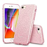 ESR Coque pour iPhone 8/7, Coque Silicone Paillette Strass Brillante Glitter de, Bumper Housse Etui de Protection [Anti Choc] pour Apple iPhone 7/8 (Rose Pailleté)