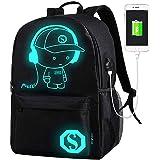 AukCherie Anime Galaxy Mochila Luminosa, Mochila Escolar con Puerto de Carga USB Daypack Ambulante Bolso de Escuela de Hombro