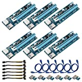 6Pack 6PIN Power Supply Interface PCI-E Extender 1X to 16X Extension Cable Extender Riser Card Adapter 6 Pin Power Cable Set