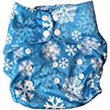 Tushions Diaper Cover One Size FIts 5-15 Kgs (Let It Snow) with one Staydry Charcoal Bamboo Insert