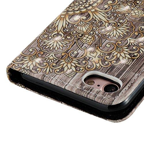 iPhone 7 Leder Brieftasche, iPhone 7 Wallet Case Cover, Aeeque® 3D Full Body Premium Trennbar Tragegurt [Standfunktion Kartenfächer] Hervorragend Rosa Meer der Wolken Muster Kunstleder Schale Handytas 3D Bunte Muster #18