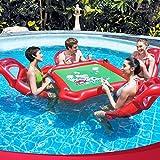 YGJT aufblasbarer Pokertisch Schwimm Sessel 4 Leute Luftmatratze mit Schürhaken und Kasino-Chips für Schwimmende Party Badespielzeug Aufblasartikel