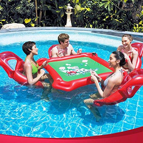 YGJT Mahjong Spiel Tisch Pokertisch 4X aufblasbare Schwimm Sessel / Luftmatratze Family Lounge Schwimmende Party Badespielzeug Aufblasartikel
