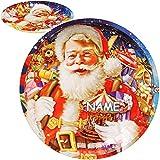 alles-meine.de GmbH 2 Stück _ große Teller / Plätzchenteller - Weihnachtsmann & Geschenke - inkl. Name - Ø 26,5 cm - rund - Mehrweg - Blech / Metall - Weihnachtsteller / Kekstell..