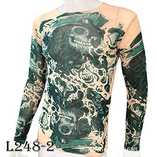 tzxdbh Tattoo Tattoo Langarm T-Shirt Damen Fan Digitaldruck Bodenbildung Shirt Musik Festival Kostüm L2482 海盗 Print 170CM-182CM 60KG-110KG (Dritten Arm Kostüm)
