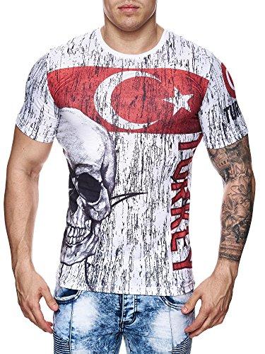 Herren T-Shirt Vintage Skull Germany Türkiye Italia Totenkopf Flag Türkei 702
