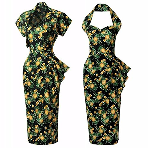 QIYUN.Z Frauen Bodycon Sleeveless Halter Ansatz Falbala Bleistift Wiggle Dress + Shawl Mantel Foto Farbe