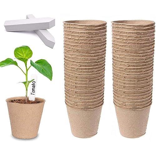 Dsaren 100 Pezzi 8cm Vasi Biodegradabili da Giardino Rotondi Vasi in Fibra Vasetti di Torba con 100 Pz Etichette Piante per Semi Piantine Fiori Botanici Piante Grasse Verdure (100 Pcs)