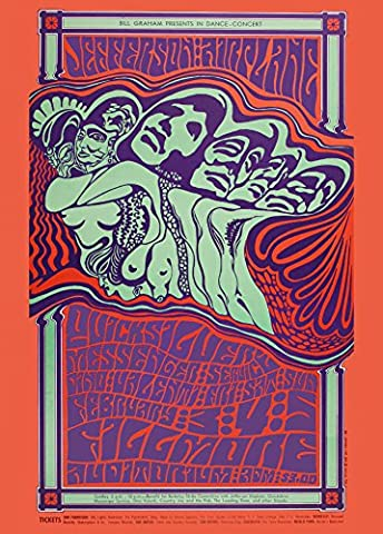 Vintage JEFFERSON AIRPLANE & QUICKSILVER MESSENGER SERVICE 250gsm Gloss ART CARD A3 Reproduction Poster