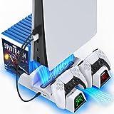OIVO Support PS5 avec Ventilateur de Refroidissement pour Playstation 5, Chargeur Manette PS5 avec Indicateur LED, Station de