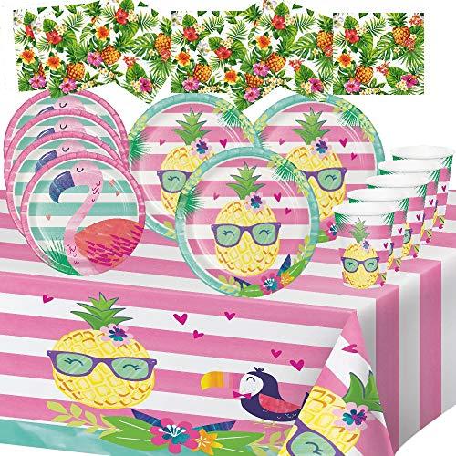 Unbekannt Barbecue Pique Nique Fest Geschmack 8 Menschen dekorieren Hawaii Tisch Gerichte 1 Tischdecken 8 Pappteller von 23 cm 4 Pappteller von 18cm 8 Pappbecher 16 Servietten -