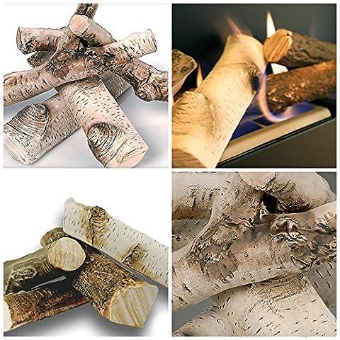 Ceramic Wood Logs Fake Gas Fire Bio ethanol Fireplace set of 4 real look BIRCH