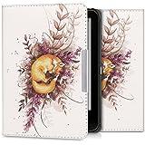 kwmobile Hülle für Tolino Vision 1 / 2 / 3 / 4 HD - Flipcover Case eReader Schutzhülle - Bookstyle Klapphülle Fuchs Herbst Design Orange Braun Weiß