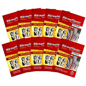 10 Stück Wärmepflaster Wärmekissen Pflaster-Wärme Wärmepads Rückenwärmer bis 8h, Bundle mit Chip M&H-24