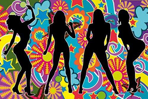 1art1 61944 Schöne Frauen - Silhouetten, Psychedelic Dance Selbstklebende Fototapete Poster-Tapete 180 x 120 cm