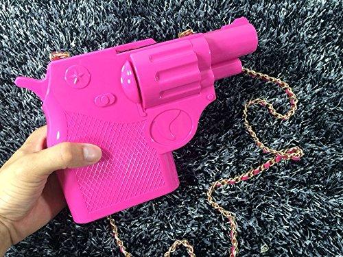 Zarapack da donna Acrilico 3d pistola Custodia rigida partito frizione borsa tracolla crossbody rosa