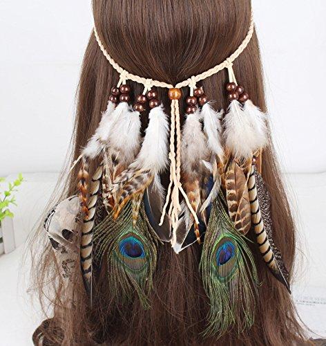 Stirnband mit Federn für Damen, Boho-Stil, Kopfschmuck für Kostümpartys, Karnevalskostüm, Kopfbedeckung
