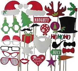 Hemore 28 Stücke Weihnachten Photo Booth Requisiten Santa Hut Masken Weihnachten Requisiten Schnurrbart Auf Einem Stock DIY Bilder Gefälligkeiten für Dekorationen