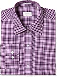 Arrow Men's Checkered Regular Fit Business Shirt (ASTF0316_44FS_Purple)