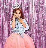 2PCS viola chiaro foto fondale Metallic Tinsel foil Fringe | 6x 8piedi tenda per feste | per puntelli, laurea, addio al nubilato, compleanno, matrimonio, confezione da 2, rosa chiaro)