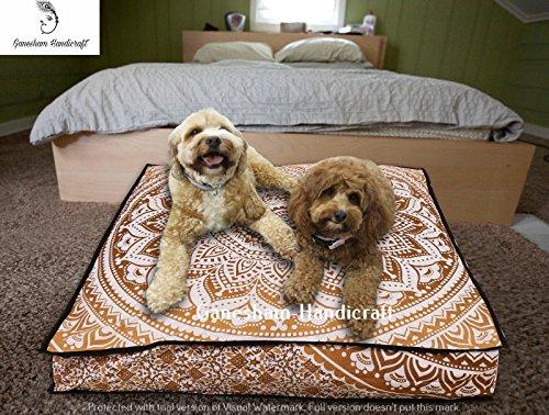 ganesham indischen, Boho Decor, Boden Kissen & Kissen Pouf Polsterhocker, Boho Kissen Hergestellt von Hippie Mandala Tapisserie Mandala, Hunde oder Katzen Bett dekorativer Überwurf-Kissen Einsatz (Bett Weicht Hund)