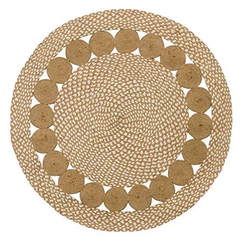 Purity Alfombra Redonda de algodón Natural y Yute Trenzado Pure Eco 90 cm x 90 cm