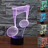 3D Tisch Nachttischlampen,KINGCOO 3D Optische Visualisierung LED Licht USB Schreibtischlampen Stimmungslichter Touch Schreibtisch 7 Farbwechsel Atmosphäre Lampe (Musik)