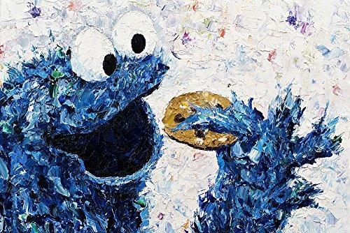 Kay Schleusner Lecker Kekse - 90 x 60 cm/Kunstdruck/Druck auf Leinwand/Pop Art/Kinderzimmer/Keilrahmen bespannt/XXL/Monster (Cookies Auf Art)