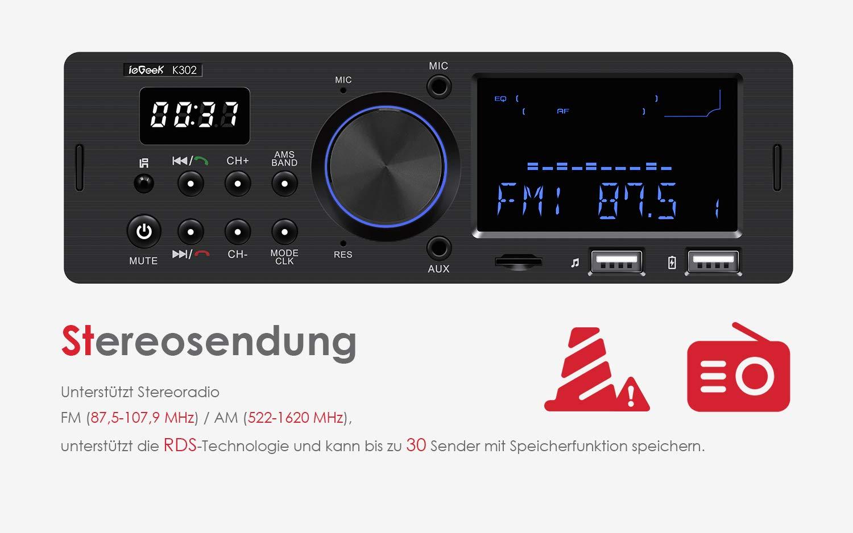ieGeek-Autoradio-Bluetooth-Freisprecheinrichtung-Dual-LCD-Display-mit-Uhr-MW-und-FM-RDS-Radio-Data-System-Stereo-Autoradio-30-Speicherpltze-USBAUX-Eingang-MP3-FLACSD-Karte