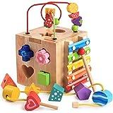 Mailesi Cubo de Actividades 5 en 1, Centro de Actividades Bebe Laberinto de Cuentas Montaña Rusa Preescolar Educación tempran