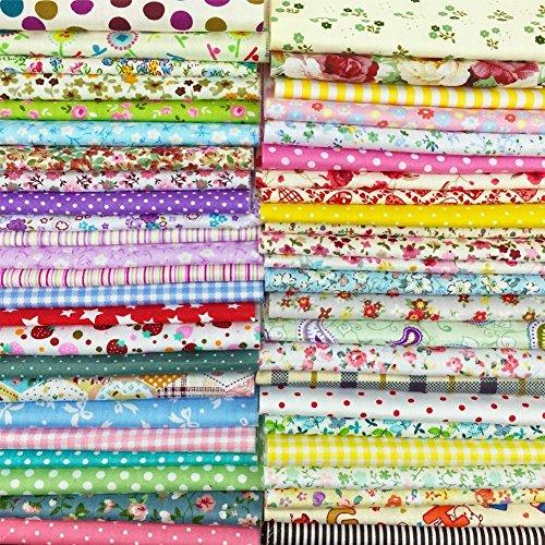25 Pcs Telas Cuadrados de Algodón Tela Fabric para Tejido Pactchwork Costura Pelusas DIY Artcraft Trabajo Álbumes de Recortes Acolchado de Lunares 30*30cm Colores Mixtos