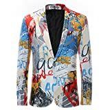Cloudstyle Slim Fit Herren bunter Sakko Muster Casual Blazer Kostüm Party