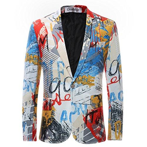 Cloudstyle Slim Fit Herren bunter Sakko Muster Casual Blazer Kostüm Party (Chemische Anzug Kostüm)
