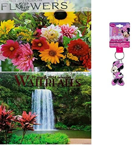 2014 Flowers 16 Month Wall Calendar+2014 Waterfalls 16 Month Wall Calendar Bonus: Disney Minnie Mouse Keychain- Lucite Shaped Key Chain