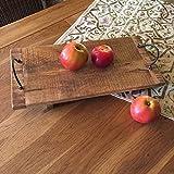 Antikas - Landhaus Tablett im Vintage Stil Holzbrett Käseplatte Küchentablett - 41x20 cm